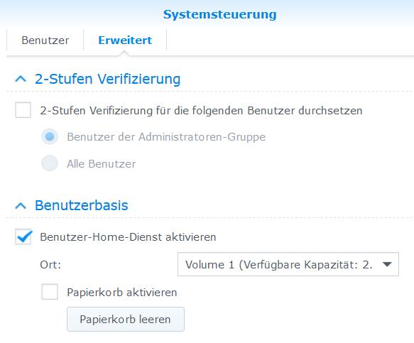 Nach der Anmeldung öffnet man aus dem DSM die Systemsteuerung und geht zu Benutzer - Erweitert.
