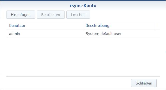 Bei rsync-Konto aktivieren den Button rsync-Konto bearbeiten und ein Benutzer hinzufügen.