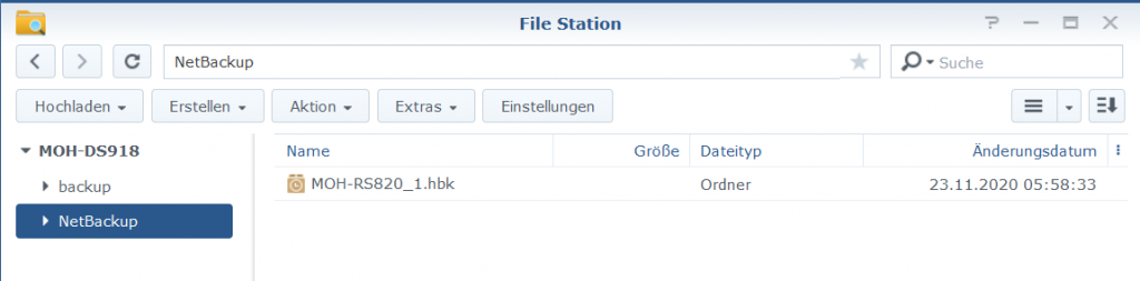 Hyper Backup in File Station Sicherung als hbk-Ordner