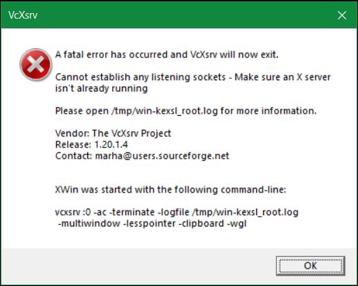 VcXsrv A fatal error