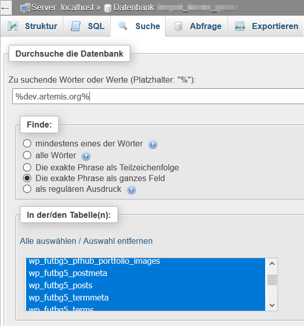 WordPress search words and pharse using phpMyAdmin