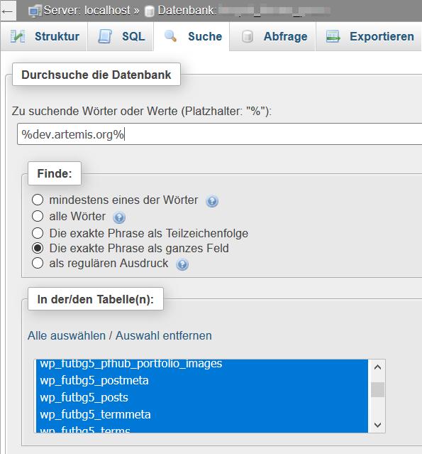 WordPress mit phpMyAdmin nach Wörter und Pharse durchsuchen
