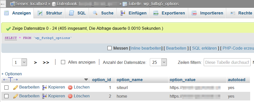 WordPress in phpMyAdmin Feld home und siteurl ändern