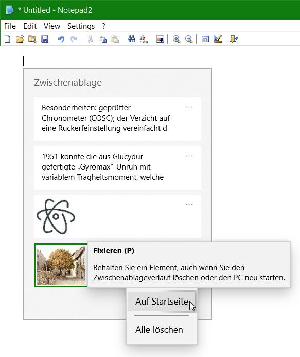 Windows 10 Zwischenablageverlauf auf Startseite fixieren