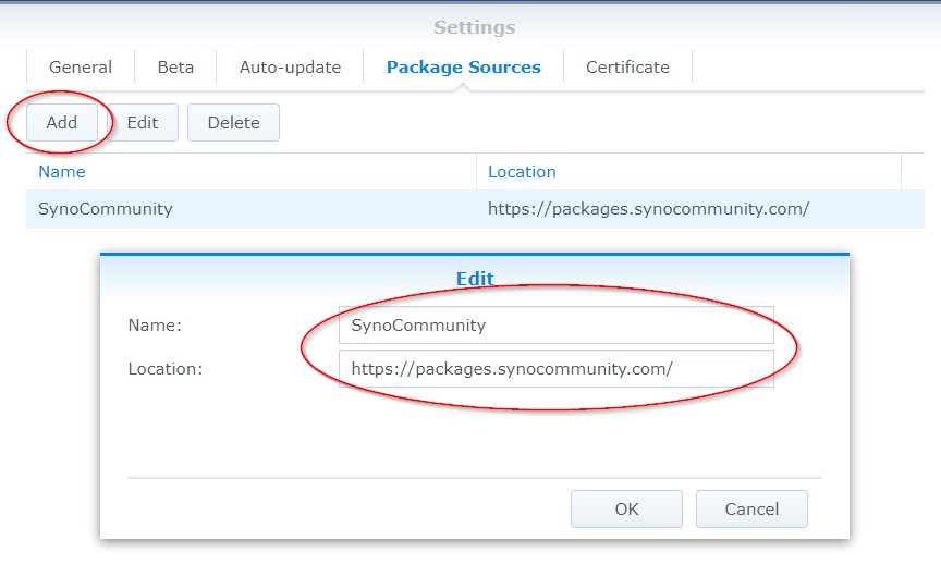 Synology Add Package Sources