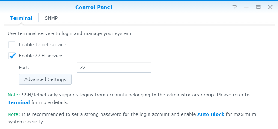 Synology Enable SSH service