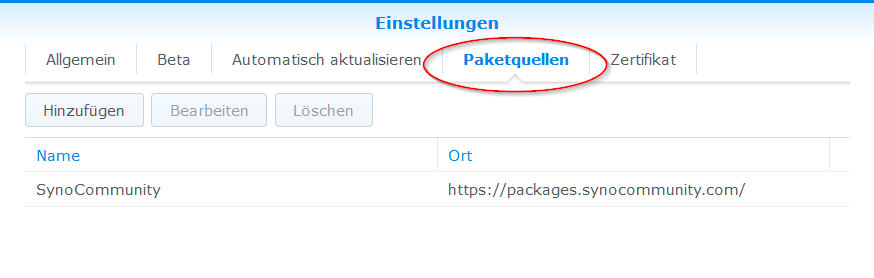 Synology Packetquellen