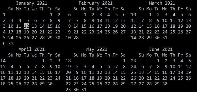 Calendar view 6 months with week number, cal -n 6 -w