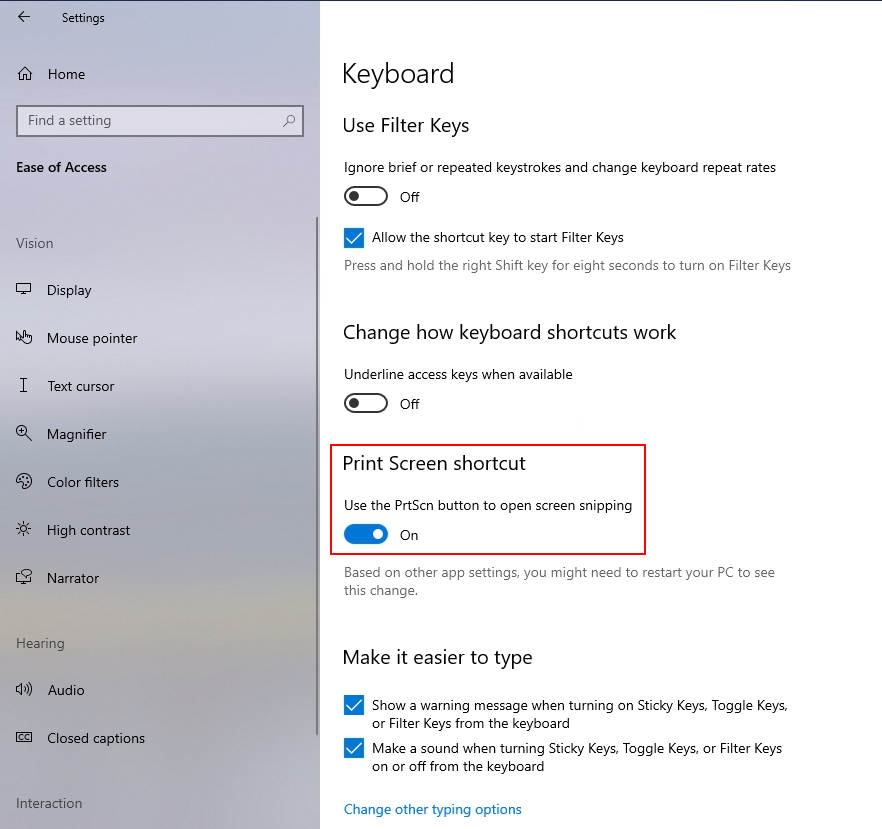 Enable Print Screen Key to Launch Screen Snipping in Windows 10, use the prtscn button to open screen snipping