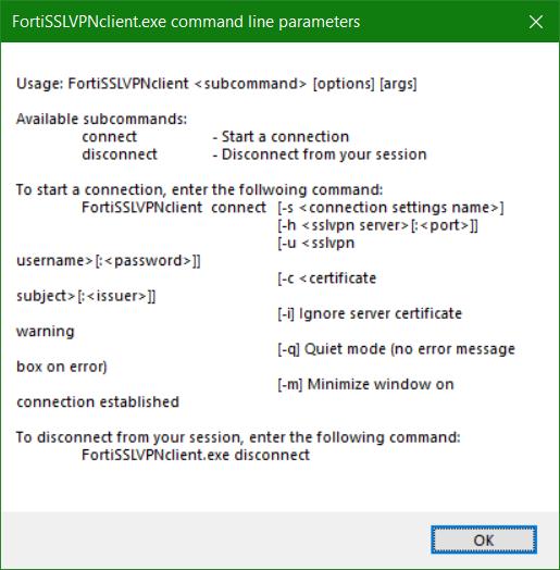 FortiSSLVPNclient.exe command line parameters