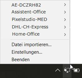 Wenn man die Datei VPNConfig.ovpn umbenennt zB. Office-Arbon.ovpn, erscheint im Kontextmenü Verbinden der entsprechende Name als Ziel.