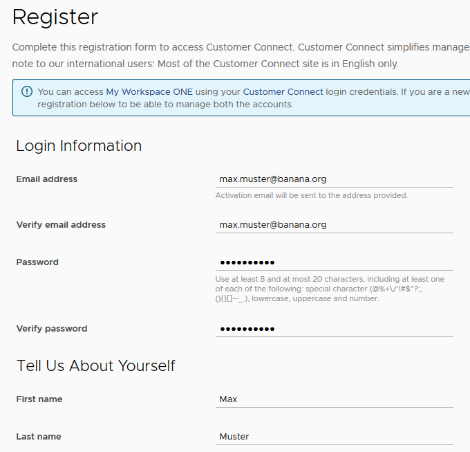 VMware registration customer connect, complete this registration form