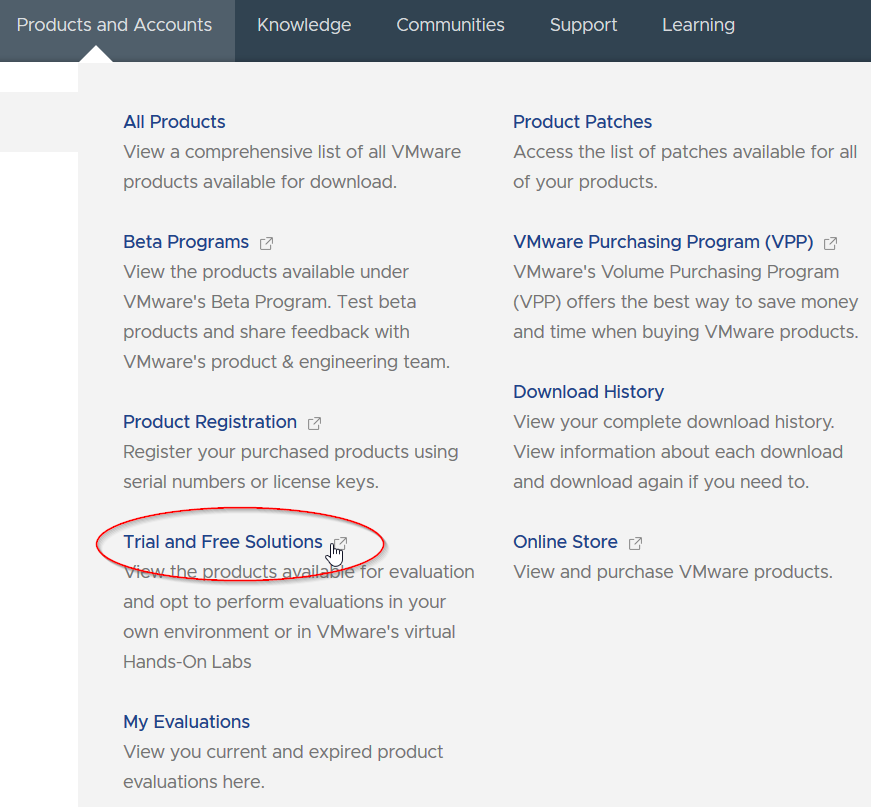 VMware Products and Accounts und Trial and Free Solutions