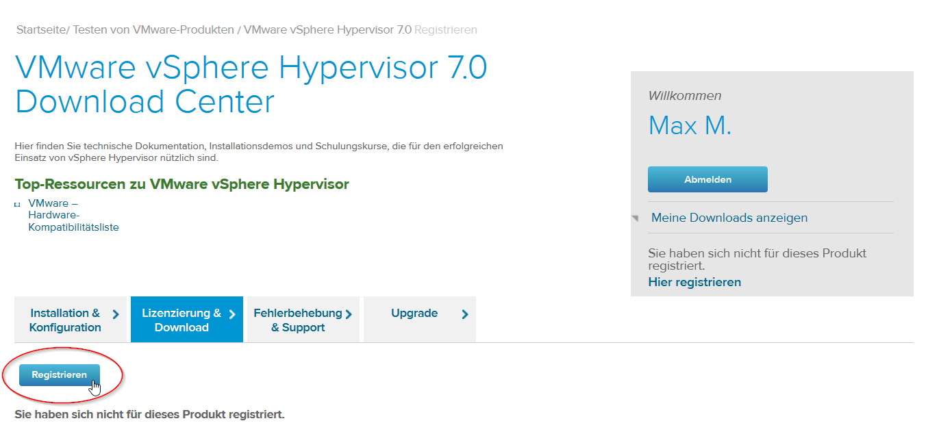 VMware vSphere Hypervisor Download Center Lizenzierung Registrieren
