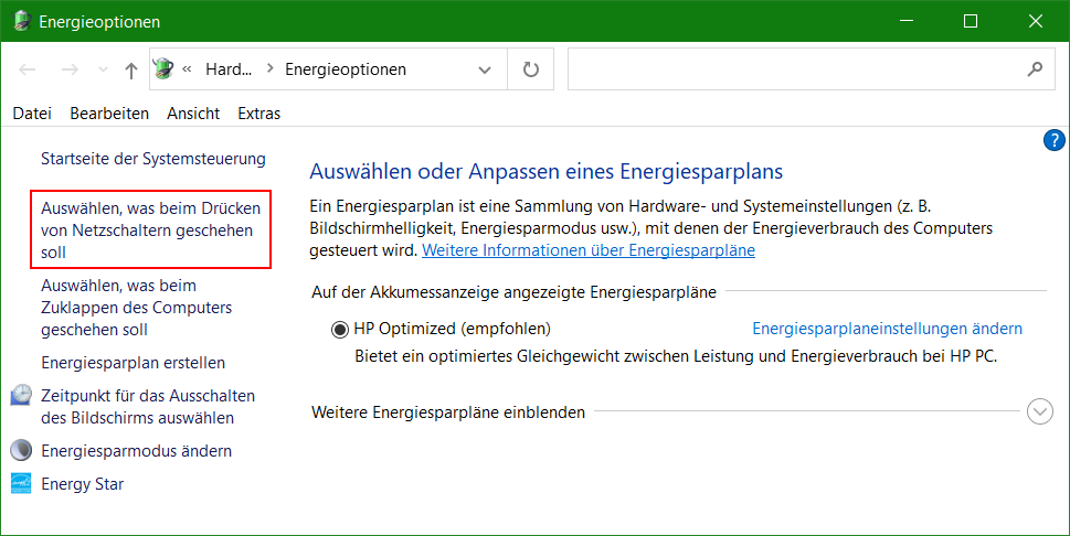 Windows 10 MMC-Console Energieoptionen