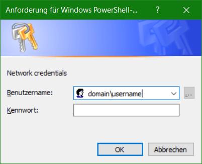 Windows PowerShell Anmeldeinformationen