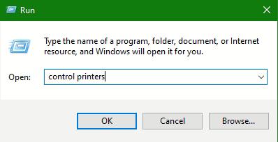 Windows-Logo + Run and type in control printers