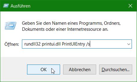Eigenschaften von Druckerserver öffnen rundll32 printui.dll,PrintUIEntry /s