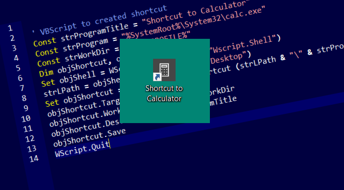 Create Shortcut using VBScript