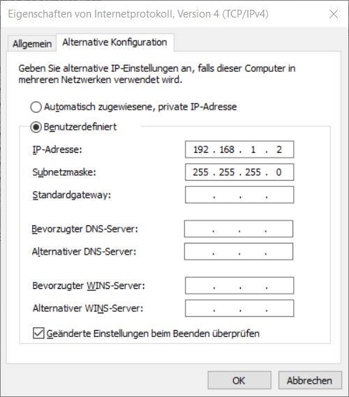 Eigenschaften von Internetprotokoll Version 4 (TCP/IPv4), Alternative Konfiguration