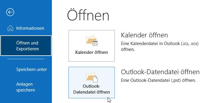 Outlook-Datendatei öffnen