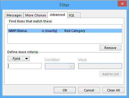 Outlook Remove Filter Items