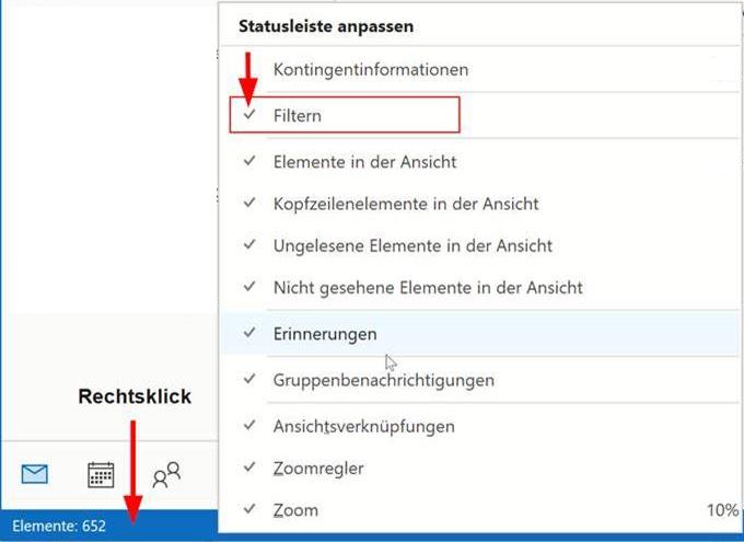 Outlook Statusleiste anpassen - Filtern aktivieren