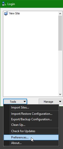 WinSCP Empty Sites
