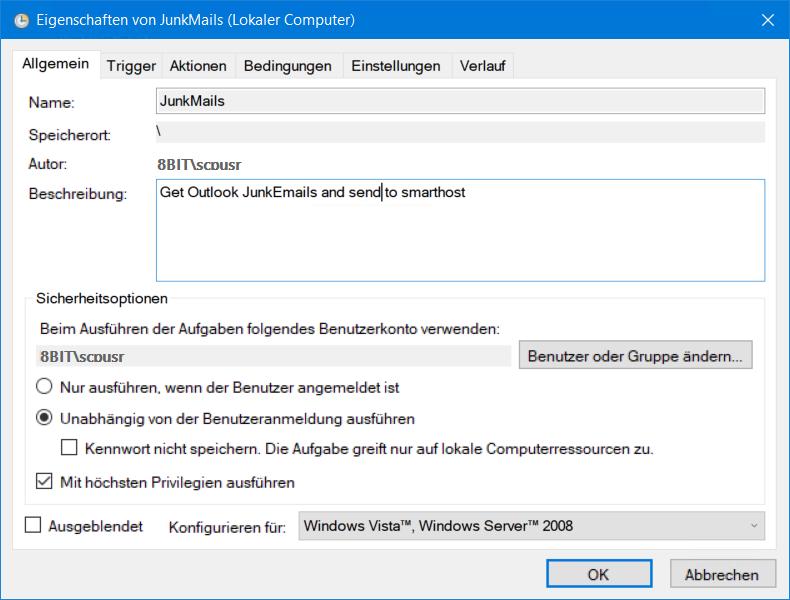 Exchange Server Aufgabenplanung Neue Aufgabe erstellen