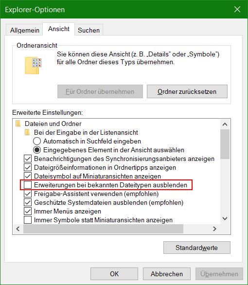 Explorer-Optionen - Versteckte Dateiendungen in Explorer anzeigen