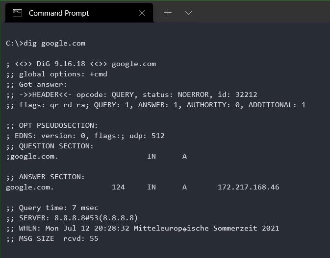 Windows Command Prompt Run dig