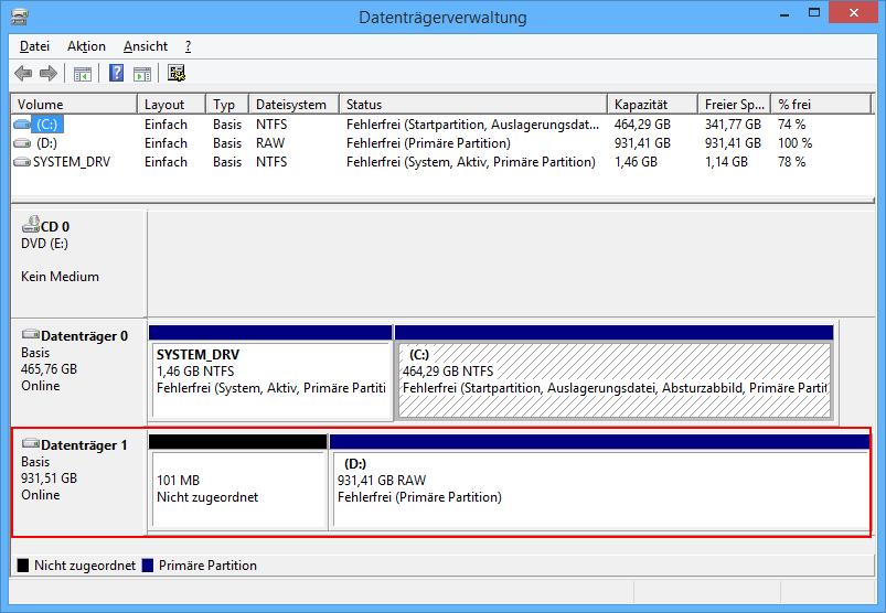 Festplatte Datenträger in der Datenträgerverwaltung überprüfen