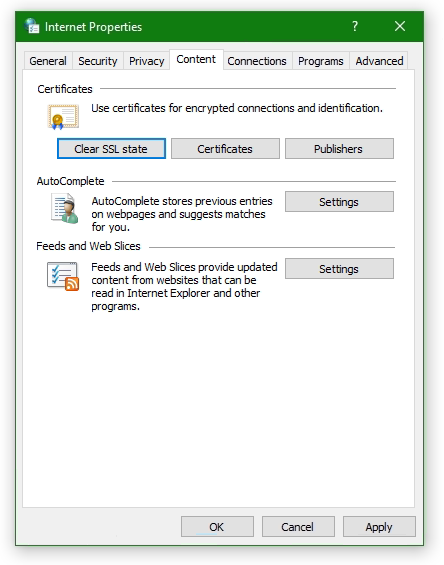 Internet Options Clear SSL state