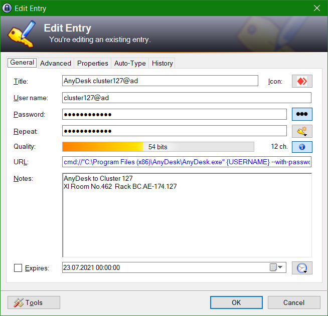 Launch AnyDesk Remote Desktop Remote Access from KeePass