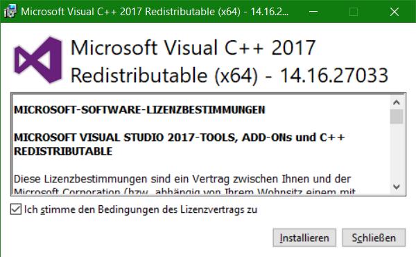 Microsoft Visual C++ 2017 Redistributable Setup