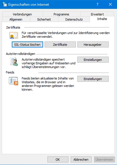 Internetoptionen SSL-Status löschen