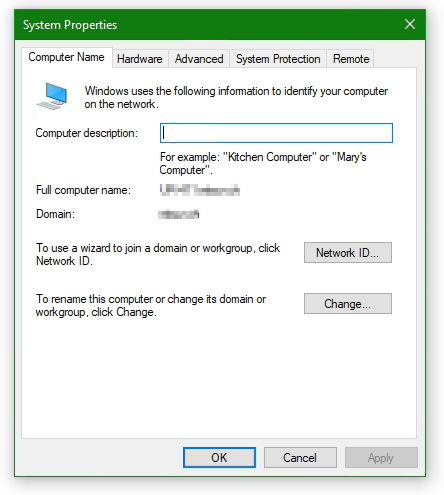 Windows System Properties - Change Computer Name