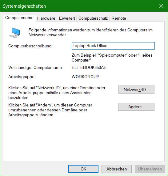 Bei Windows kann der Computername in der MMC-Konsole Systemeigenschaften vergeben werden