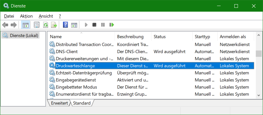 Windows Dienste Druckwarteschlange