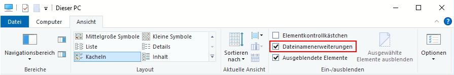 Windows Datei Explorer Ansicht Dateinamenerweiterungen