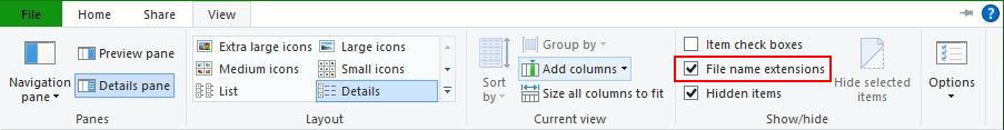Windows File Explorer View File name extensions
