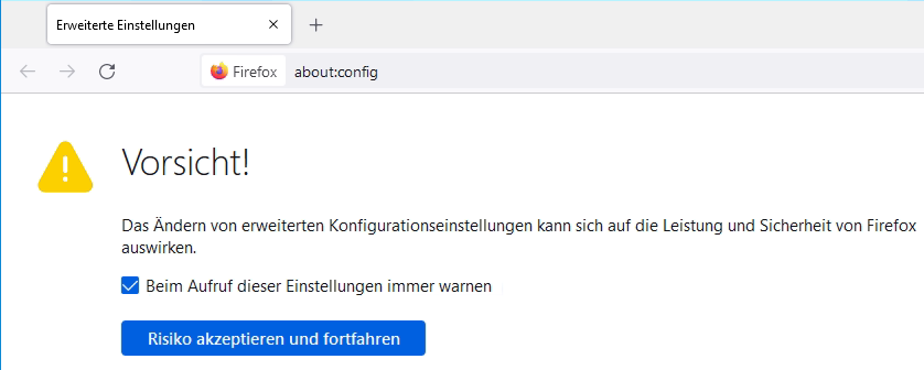 Firefox Advanced settings about:config