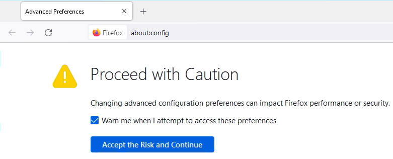 Firefox Advanced Preferences about:config