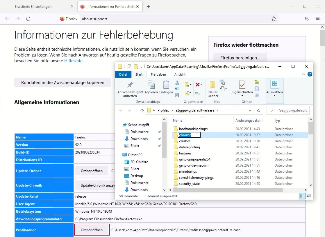 Firefox Weitere Informationen zur Fehlerbehebung - Profilordner