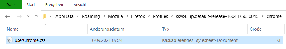 Mozilla Firefox default profile path to userChrome.css