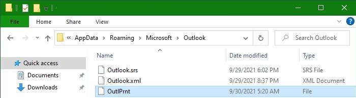 Outlook - Nach der Datei OutlPrnt suchen, ist diese vorhanden, kann sie gelöscht werden