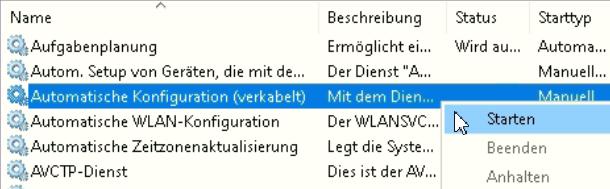 Windows Dienste (services.msc) Automatische Konfiguration (verkabelt)