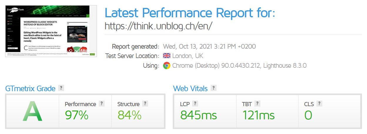 GTmetrix Site Performance Analysis