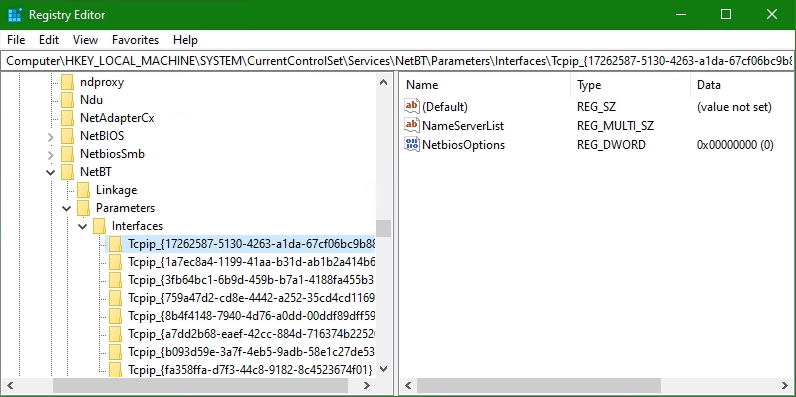 the GUID to the corresponding network adapter can be found in Registry Editor