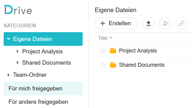 Synology Drive Eigene Dateien, neue Ordner erstellen